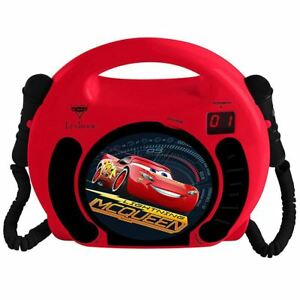 DISNEY-CARS-CD-PLAYER-WITH-MICROPHONES-WITH-HANDLE-KIDS-BOYS