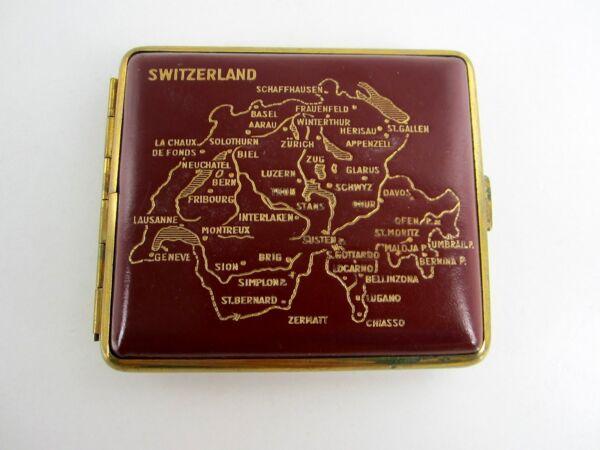 Razonable Antiguo Elegante Pitillera Tabaquera Caja Suiza Suiza Latón Rojo Cuero