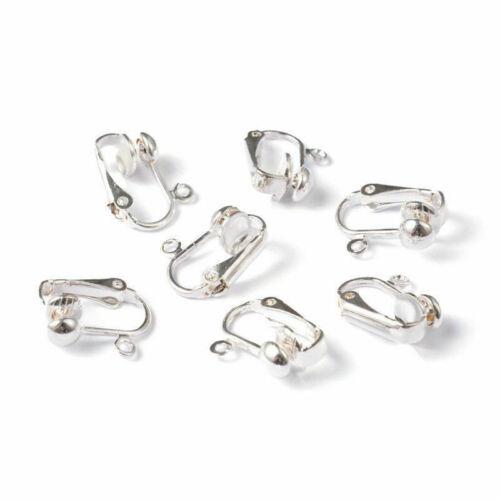 10pcs Silver Tone Fer Clip-On Boucle d/'oreille Blanks Constatations non percé oreille 15.5 mm