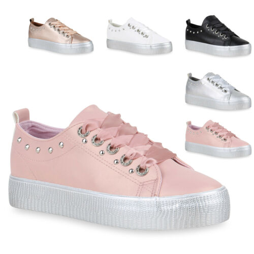 Damen Plateau Sneaker Strass Nieten Metallic Schuhe Turnschuhe 820554 Trendy Neu
