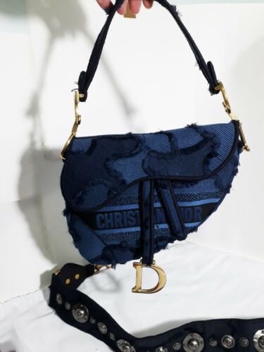 CHRISTIAN DIOR BLUE CAMOUFLAGE SADDLE