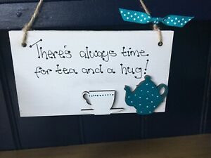 KITCHEN-Cafe-Coffee-Shop-Plaque-Wall-Hanging-Sign-Personalised-Cup-Teapot-Brew