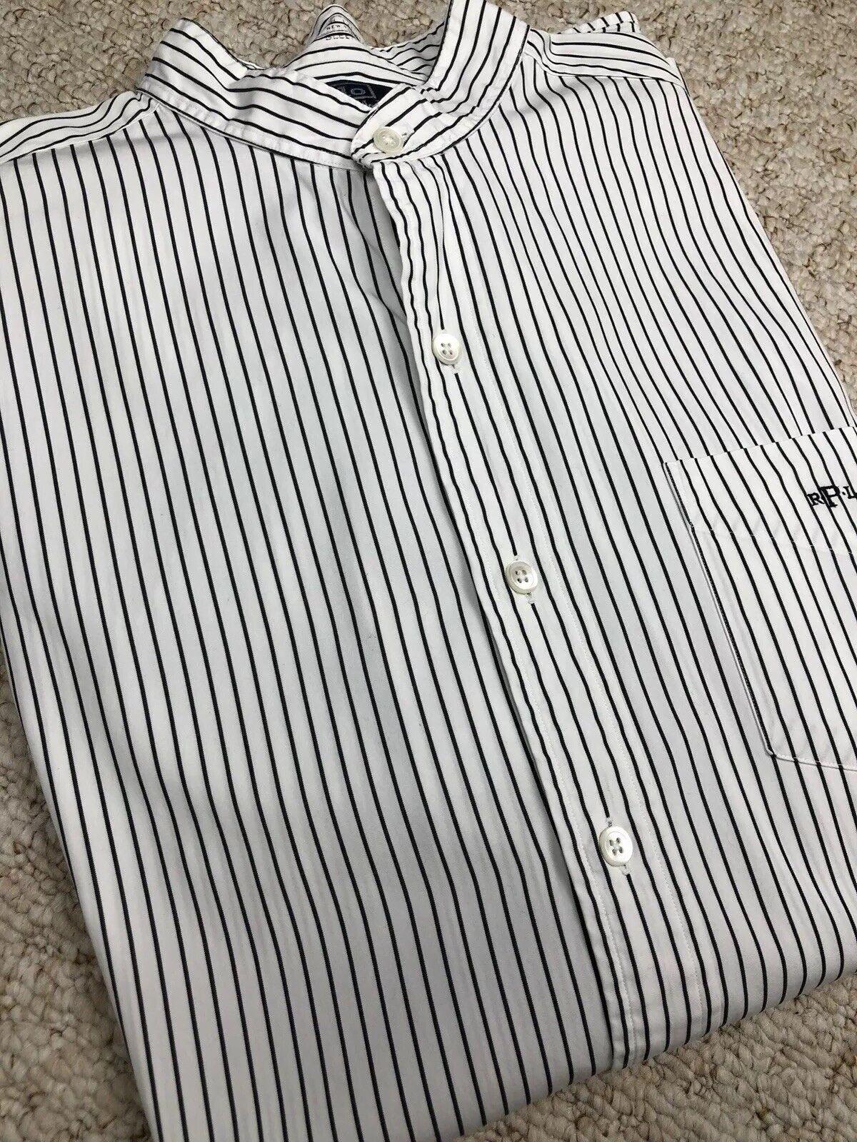 Ralph Lauren White bluee Shirt Polo Striped Original Cotton Grandad Collar Large