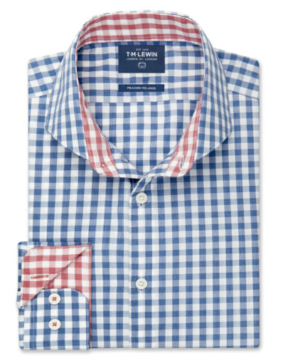 T.M.Lewin   Peached Melange Slim Fit Blue Gingham Shirt