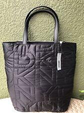 DKNY DONNA KARAN Nylon Quilted Logo Black Women Shopper Tote Handbag Purse $200
