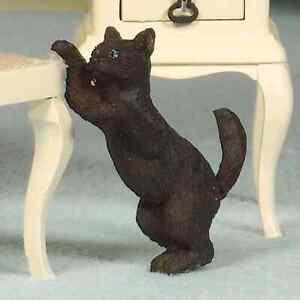 Maison De Poupées échelle 1/12th Ludique Chat Noir Résine Figure-afficher Le Titre D'origine Emballage Fort