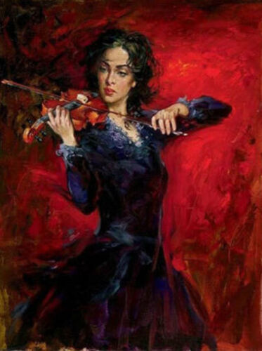 ZOPT626 playing violin long dress girl  paint oil painting home art canvas
