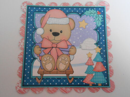 PK 2 LIVVY BEAR SLEDING EMBELLISHMENT TOPPERS FOR CARDS OR CRAFTS
