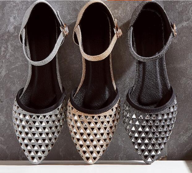 Ballerines mocassins chaussures pour femmes élégant noir or, argent 1 cm