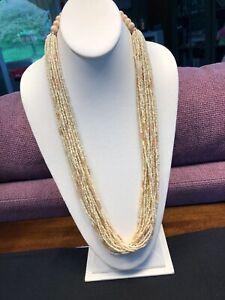 Vintage Boheniman Tan Glass Seed Bead Wood Multi Strand Long Necklace Boho