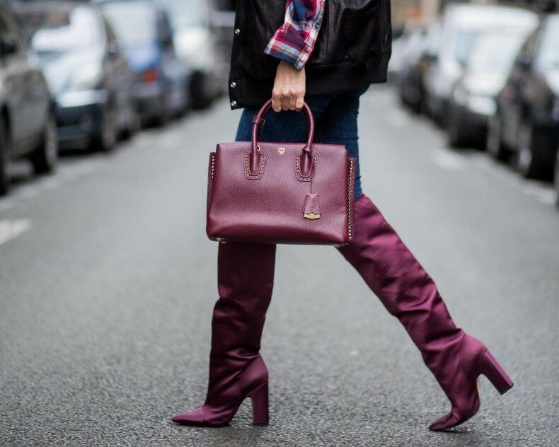 ZARA BURGUNDY SATIN OVER THE KNEE HIGH HEEL Stiefel UK 4 US 6 EUR 37 SOLD OUT