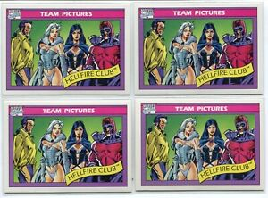 (4) 1990 Marvel Universe SERIES 1 Hellfire Club #147 Team Pictures CARD PSA