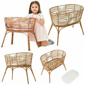 Doll-039-s-Rattan-MINI-Bassinet-with-Mattress-amp-Heirloom-Pretend-Play-Baby-Doll-Toys