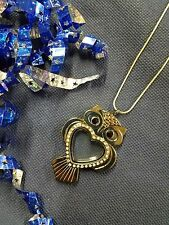 Gunmetal Owl Clear CZ Heart Living Memory Locket Necklace for Floating Charms US