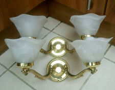 Pair Of Double Brass Wall Lights With White Marbleized Glass Shades Quality Item