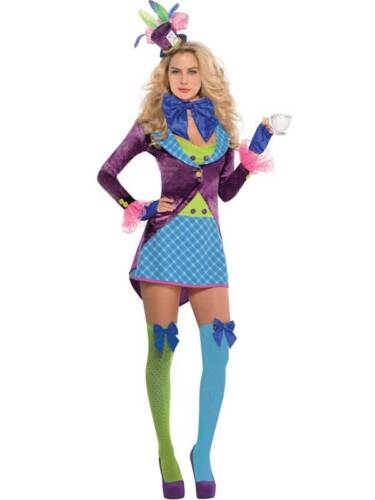 Mad Hatter Fancy Dress Costume Ladies Outfit Plus Size 8-16 Alice in Wonderland