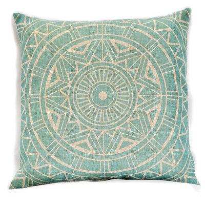 Compass Vintage Linen Cotton Cushion Cover Decor Throw Pillow Case - Light Aqua