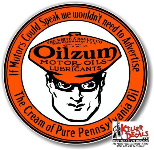 "12/"" OILZUM MOTOR OILS decal lubster gas pump gasoline oil man cave"