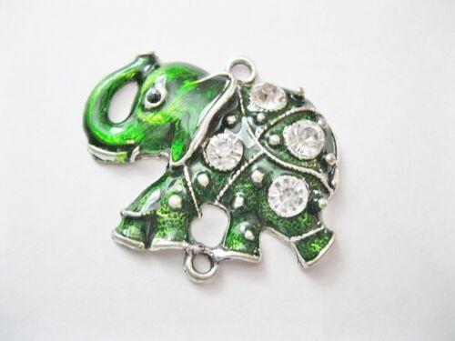 NELLYS Zwischenteil Anhänger Elefant emailliert grün fac Glasperlen Schmuck