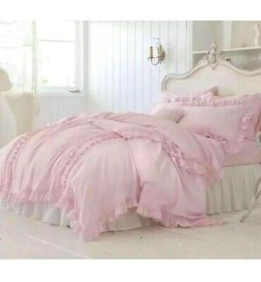 Simply Shabby Chic Pink Smocked Duvet Cover Sham Set KING 3 pc New Ruched Ruffle