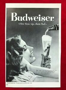 Vintage-1960-Black-White-Print-Ad-Budweiser-Beer-Bud-Woman-Glass-Anheuser-Busch