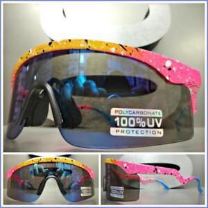 b05c7bbc06 Mens Women VINTAGE 90 s RETRO SPORTY WRAP Style SUN GLASSES Speckled ...
