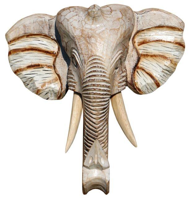 Wandmaske Elefant 20cm Dekomaske Elefantenmaske handgeschnitzt und handbemalt