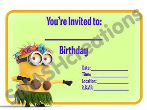 A5-DESPICABLE-ME-CHILDRENS-PARTY-INVITATIONS-X-12-MINION-HULA