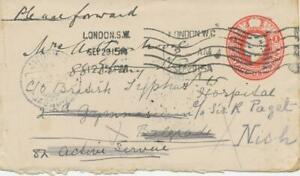 GB-1915-George-V-1d-red-STO-postal-stationery-env-soldiers-rate-to-NISH-Serbia