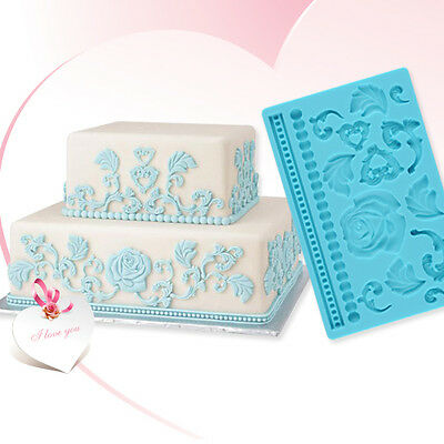Silicone Fondant Cake Embossing Mould Gum Lace Paste DIY Decorating Baking Tool