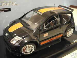 CITROEN-C2-TUNING-noir-band-orange-1-18-SOLIDO-8196-voiture-miniature-collection