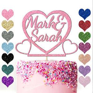 Personalised-Heart-Cake-Topper-Glitter-Engagement-Wedding-Anniversary-Love