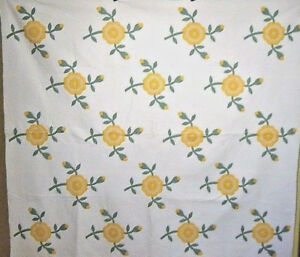 ROSE-ANTIQUE-QUILT-OHIO-MADE-HAND-APPLIQUED-AND-HAND-QUILTED