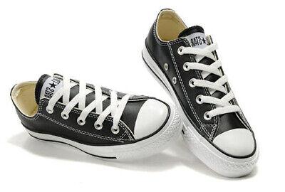 CONVERSE All Star Nere Basse classiche in pelle suola bianca sneakers leather | eBay