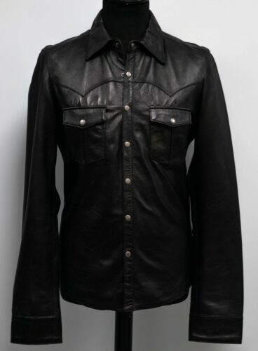 Mens Designer Leather Shirt Alexander Caine Black Lambs Skin Lightweight Jacket