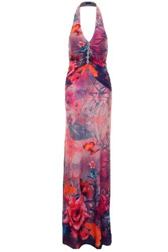 Women/'s Gathered Halterneck Diamante Floral Ladies Long Evening Maxi Dress