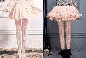 Steampunk-Victoriana-Lolita-Striped-Tights-Pink-Bow-Flowers-2-Designs-Regular