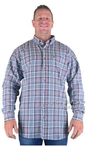 Large Mens Grey Black Espionage Stokes Long Sleeve Check Shirt 2XL 3XL 4XL 5XL 6