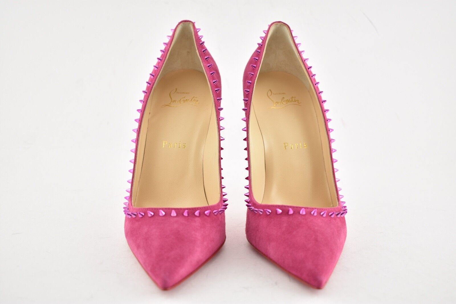 NB Christian Louboutin Anjalina 100 Loulou rose Suede Suede Suede Fuxia Spike Heel Pump 41.5 91bf6f