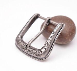 "1/"" Vintage Silver Texas Western Flower Engraved Cowboy 2 piece Belt Pin buckle"