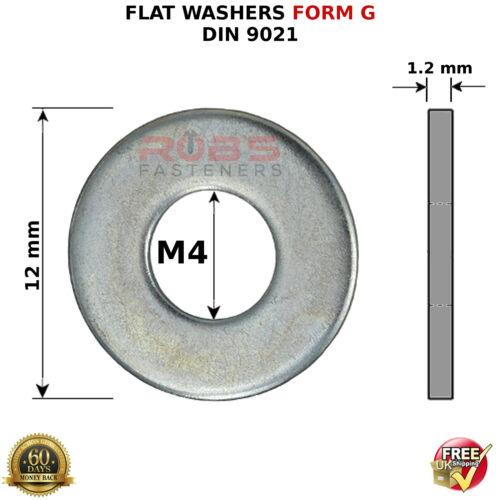 Large Flat ancho grueso Métrico brillante zincado DIN 9021 Formulario Arandelas G M4 4mm