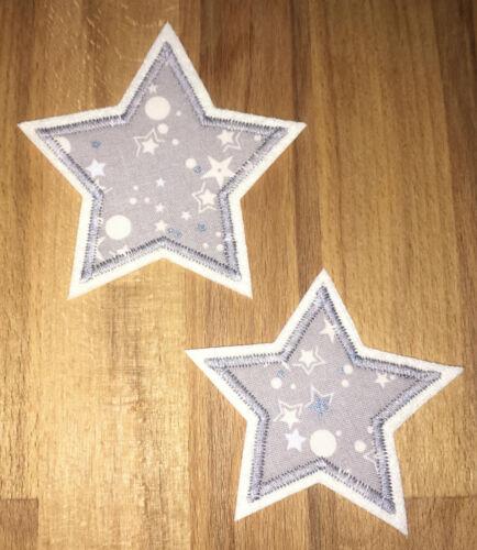 Applikation Aufnäher Patch Knieflicken Flicken Hosenflicken Sterne grau weiß