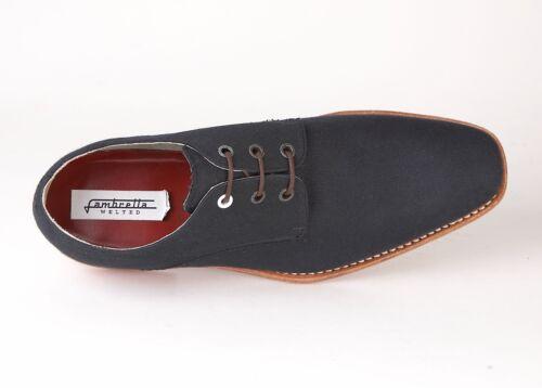 Lambretta Para hombre Zapatos De Lona Edward Goodyear Welted Rojo Azul Marino Suela De Goma