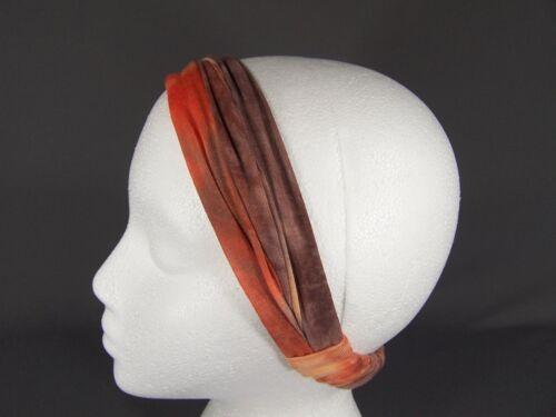 Coral tie dye jersey scrunched stretch kerchief headband 3in1 multi look bandana