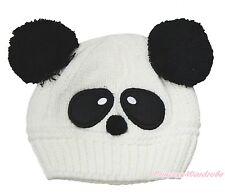 Unisex White Panda Baby Knit Crochet Hat Cap Beanie Cosplay Costume Accessory