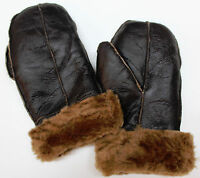 Men's Handmade Brown/Ginger Real 100% Sheepskin Mittens Thick Leather Gloves