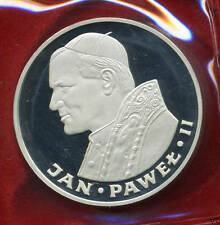 "1982 POLAND SILVER COIN 100 ZLOTYCH  ""POPE JOHN PAUL II "" - COA - PROOF"