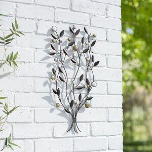 Details about Garden Metal Wall Art Decor Leaf Bunch 64cmH Patio Indoor  Outdoor Decoration