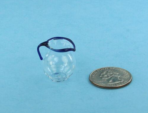 1:12 Scale Dollhouse Miniature Realistic Glass Pitcher//Jug with Blue Trim #R1111