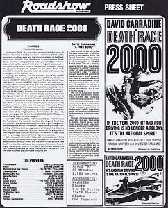 DEATH-RACE-2000-Original-Australian-Movie-Press-Sheet-Sylvester-Stallone